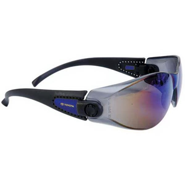 Provizgard - Blue Mirror Lens - Sporty Single-piece Lens, Black Frame Safety Glasses Photo