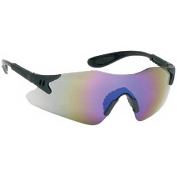 Blue Mirror Lens - Black Frame Styling Single-piece Lens Safety Glasses With Rubber Nose Piece Photo
