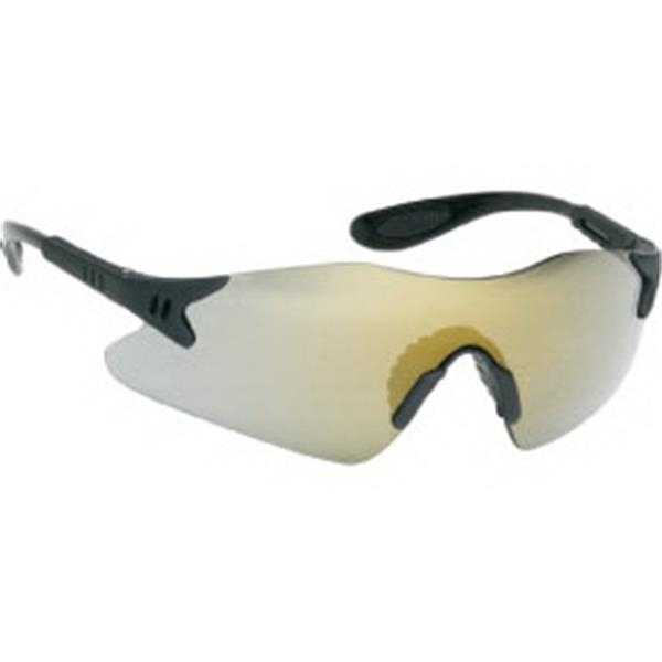 Gold Mirror Lens - Black Frame Styling Single-piece Lens Safety Glasses With Rubber Nose Piece Photo