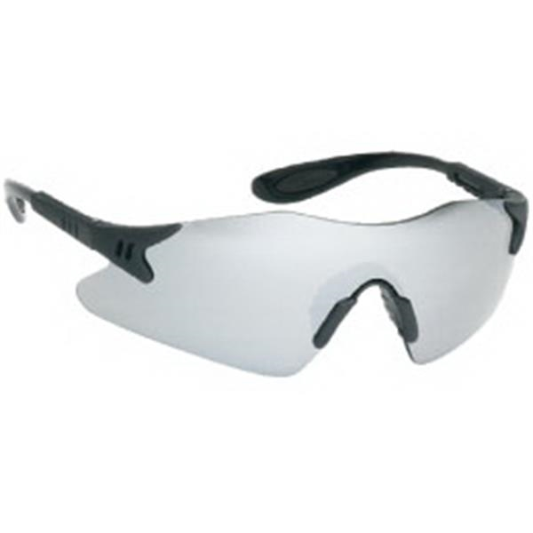 Silver Mirror Lens - Black Frame Styling Single-piece Lens Safety Glasses With Rubber Nose Piece Photo
