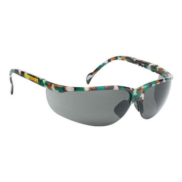 Wrap Around Safety Glasses With Gray Lens And Camo Frame Photo