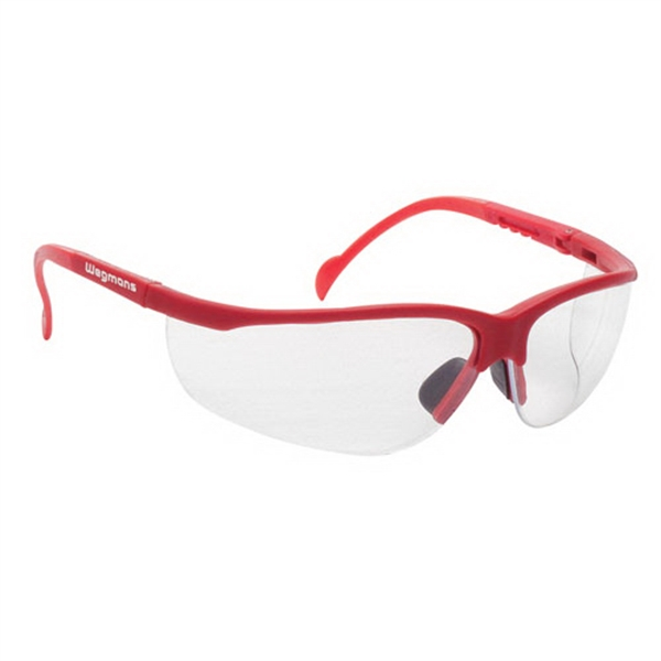 Wrap Around Safety Glasses With Clear Lens And Red Frame Photo