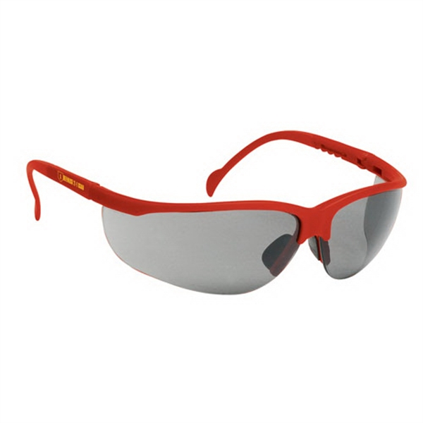 Wrap-around Safety Glasses With Gray Lens With Red Frame Photo
