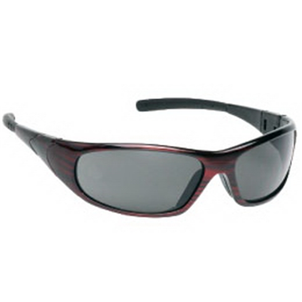Sports Style Safety Glasses With Red Frame And Gray Lenses Photo