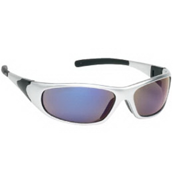 Blue Mirror Lens - Sports Style Safety Glasses With Silver Frame Photo