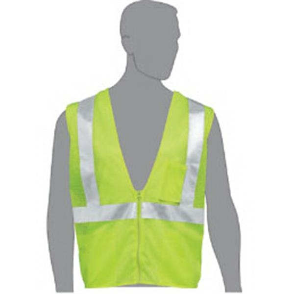 Lime Mesh Safety Vest With Non-conductive/non-caustic Zipper Front Closure - Class 2 Complaint Blank Safety Vest Made Of 100% Polyester Mesh Fabric Photo