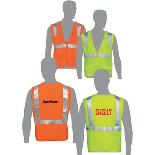 Orange - Class 2 Compliant Solid Fabric Surveyors Vest With Silver Retro-reflective Stripes Photo