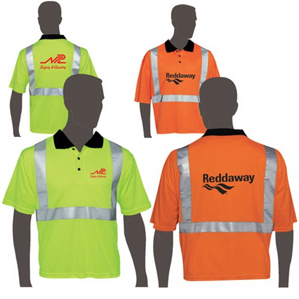 Orange - Class 2 Compliant Mesh Safety Polo Shirt Photo