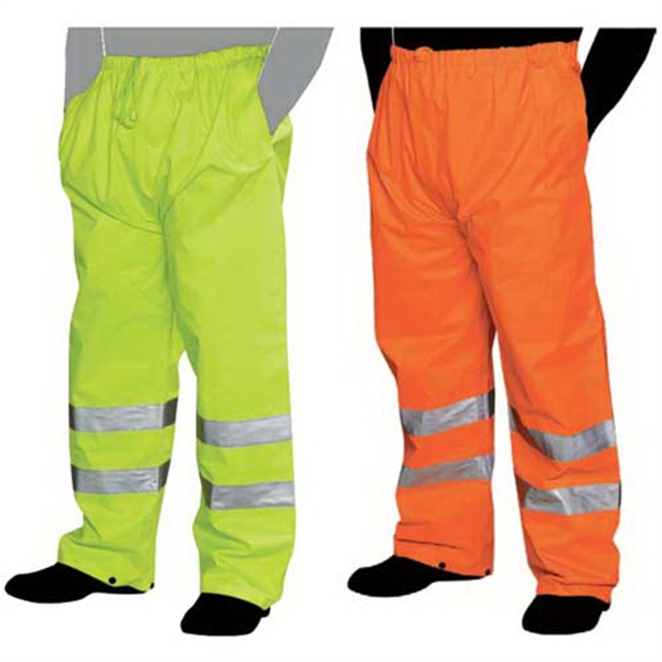 Orange - Rain Pants With Silver Reflective Stripes. Blank Photo