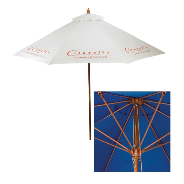 7 Foot Wood Square Market Umbrella Photo