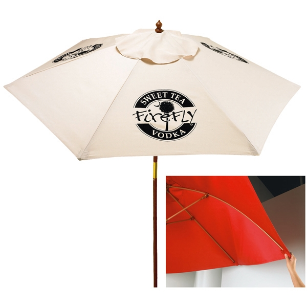 In Stock 7 Ft. Wood Market Umbrella Photo
