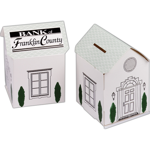 1 Color - House Shaped Bank With Fold And Tab Assembly Photo