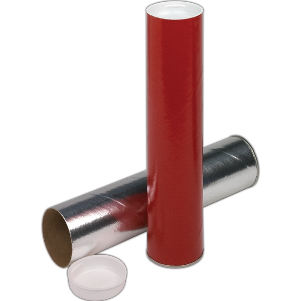 Mailing Tube With One Metal End And One White Plug. Blank Photo