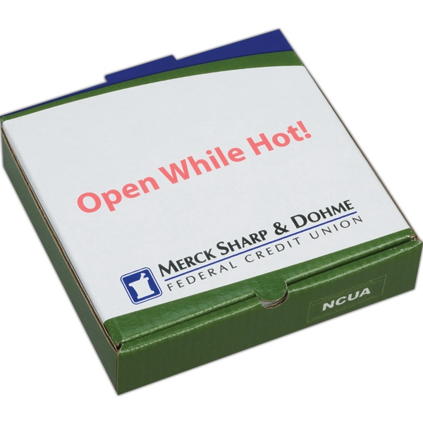 Addition Of Spot Mount Label - E-flute Corrugated Pizza Box With White Outside And Inside Photo