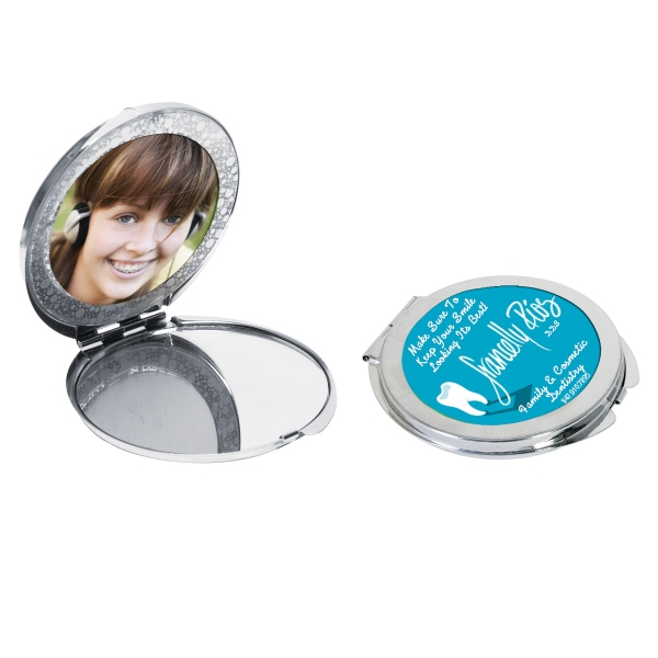 Photo Compact Mirror With Velveteen Carrying Pouch Photo