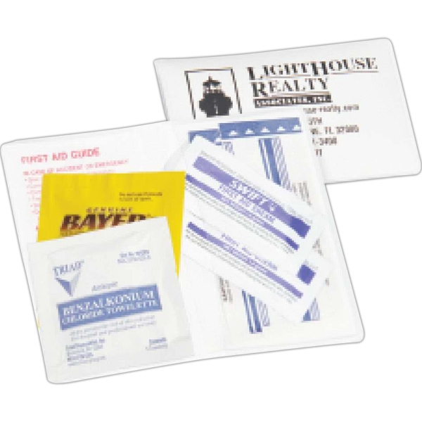First Aid Kit With Four Adhesive Bandages, Creams And Guide In White Vinyl Case Photo