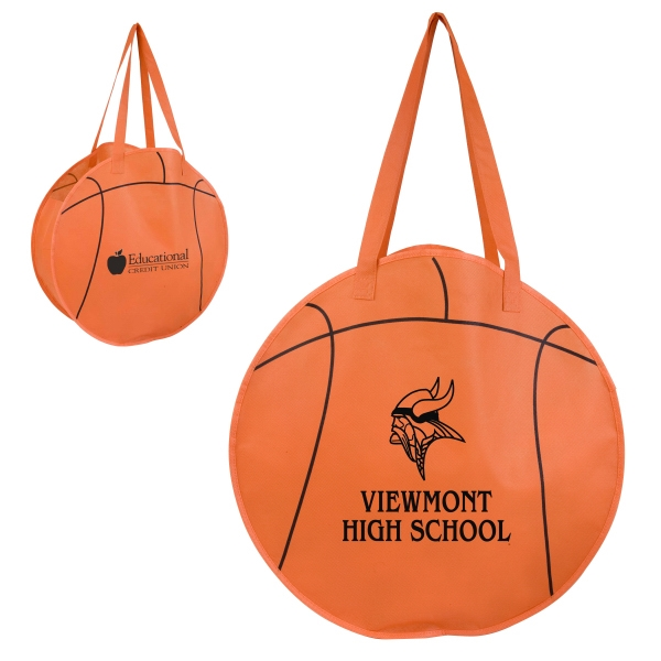 Rallytotes (tm) - Eco Friendly Tote Made Of Recycled Nonwoven Poly And Shaped Like A Basketball Photo