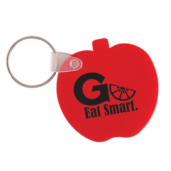 Apple Shaped Vinyl Key Fob With Metal Split Ring. Closeout Photo