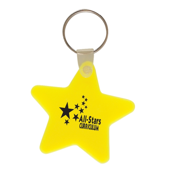 Star Shaped Vinyl Key Fob With Metal Split Ring Photo