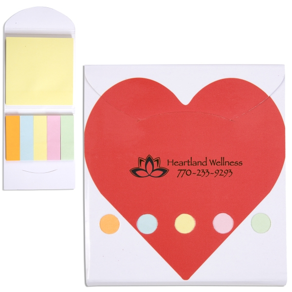 Heart Theme Pocket Memo Book Includes Note Pad And 5 Pastel Color Flags Photo