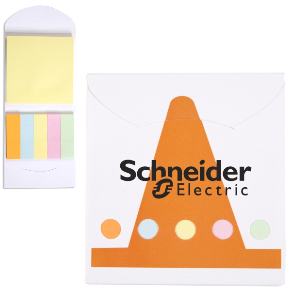 Construction Cone Theme Pocket Memo Book Includes Note Pad And 5 Pastel Color Flags Photo