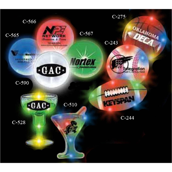 Football Stock Shape Flashing LED Light Up Glow Button