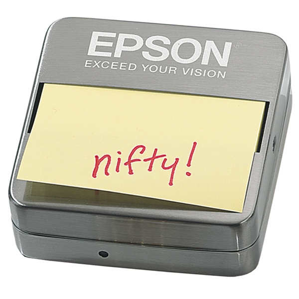Executive Series - Note Holder - Pop-up Sticky Note Pad Holder. Brushed Metal Finish Photo