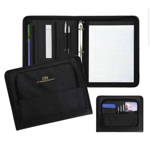 Advisor - Simulated Leather Zippered Ring Folio With Two Zippered Pockets And Pen Loops Photo