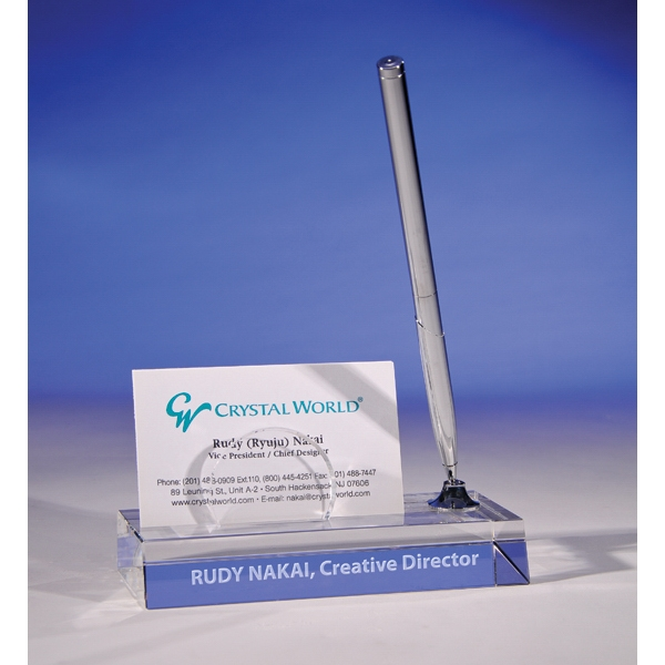 Card Holder Pen Stand By Crystal World Photo