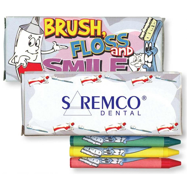 Four Pack Of Crayons With Dental Theme. Blank Photo