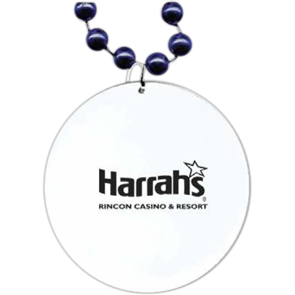 "Navy Blue - Medallion Necklace, 33"" With 7 1/2 Mm Beads And 2 1/2"" White Medallion Photo"