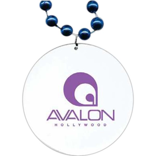 "Royal Blue - Medallion Necklace, 33"" With 7 1/2 Mm Beads And 2 1/2"" White Medallion Photo"