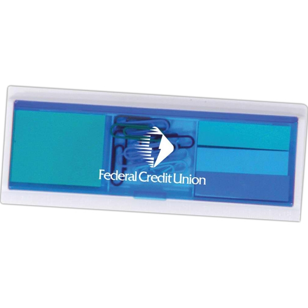 Translucent Blue - Ruler With Sticky Notes, Flags And Paper Clips. Closeout Price! While Supplies Last Photo
