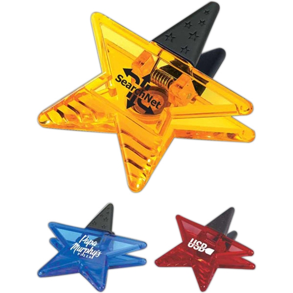 Star Power Clip - Translucent star shape clip with rubber handles.