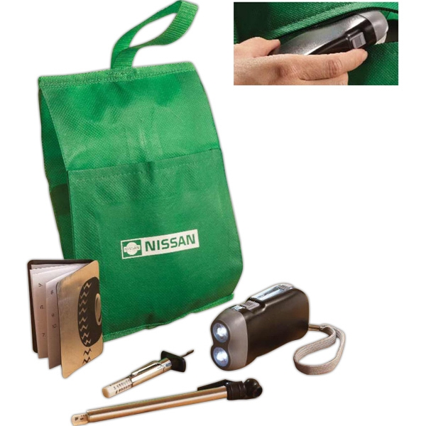 Fuel Conservation Set With Pouch, Tire Gauge And Rechargeable Flashlight Photo