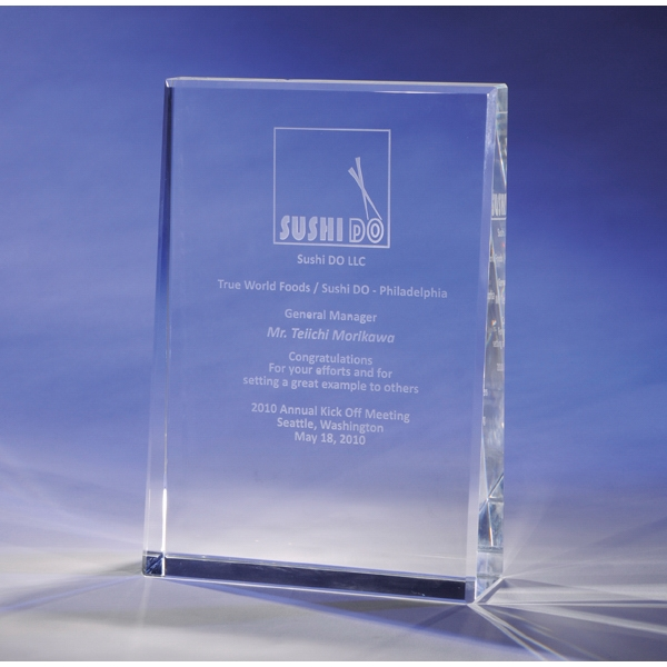 "Leader - Leader Crystal Award By Crystal World. 7"" Tall. Sp192 Photo"