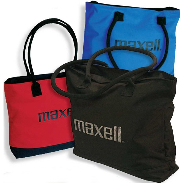 Metro - Tote Bag With Rolled Handles, Hard Bottom Panel And Zippered Closure Photo