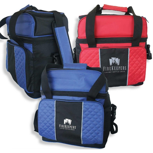 Diamond Stitch - Lunch Cooler Bag With Front Pocket And Two Side Mesh Pockets Photo