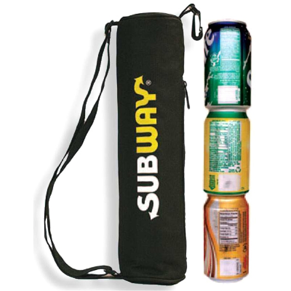 Three Can Cooler Tube Bag With Shoulder Strap For Convenience Photo