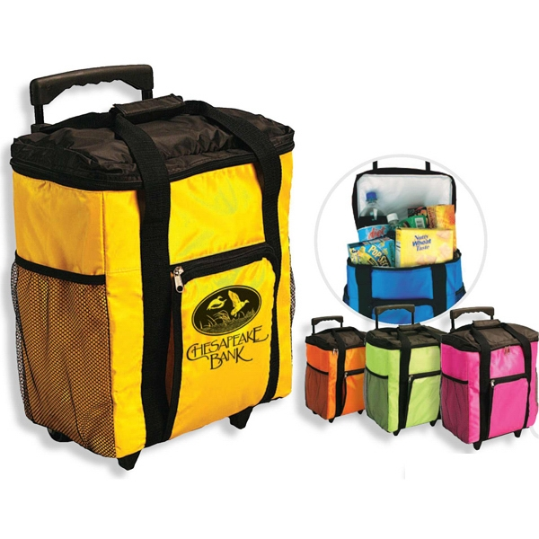 Rally - Rolling Cooler With Telescoping Handle, 2 Side Mesh Pockets, Folds Down For Storage Photo
