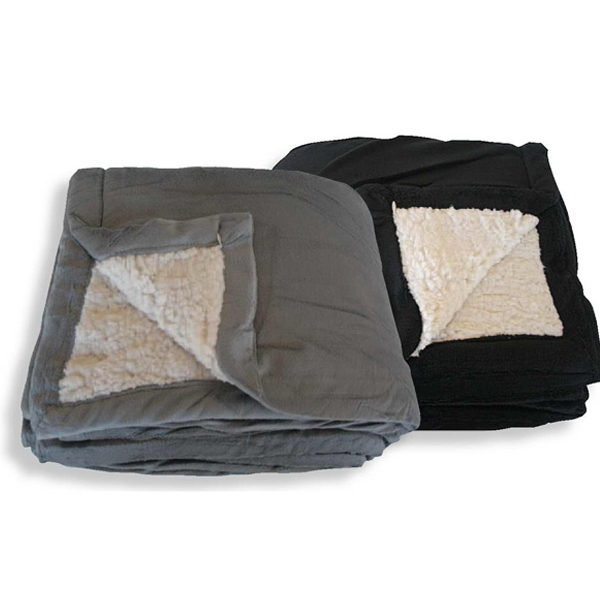 Sherpa Fleece Blanket With Black Polar Fleece Liner, Blank Photo
