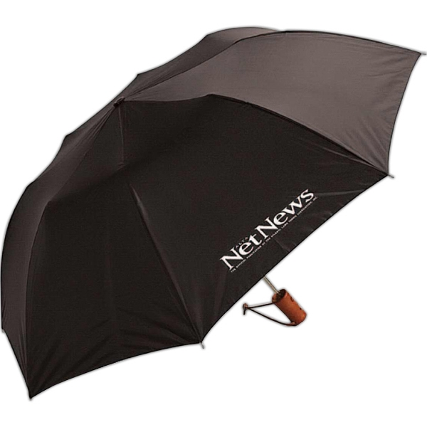Folding Auto Open Umbrella With Wood Handle And Leather Wrist Cord Photo