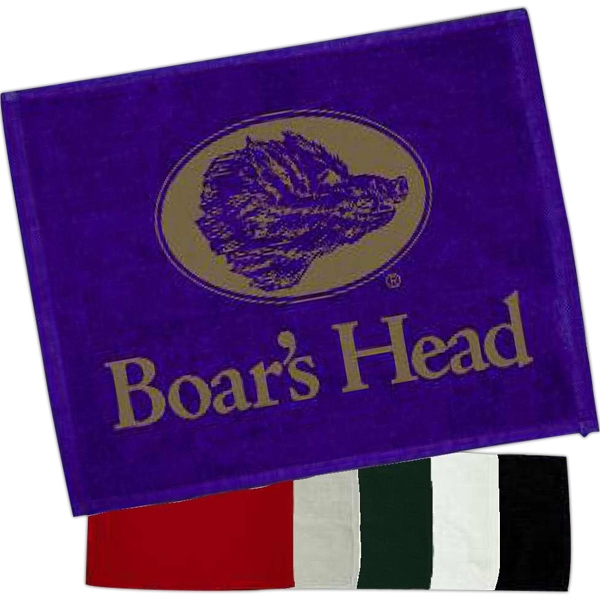 "Colored; 1.25# - Hemmed Velour Rally Towel, Measures 15"" X 18"" Photo"