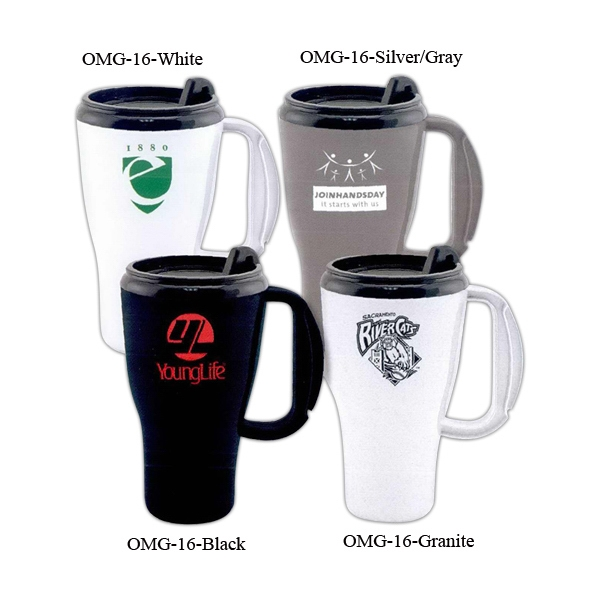 Omega - Contemporary Style Plastic Travel Mug With Ergonomic Thumb Slide Lid Photo