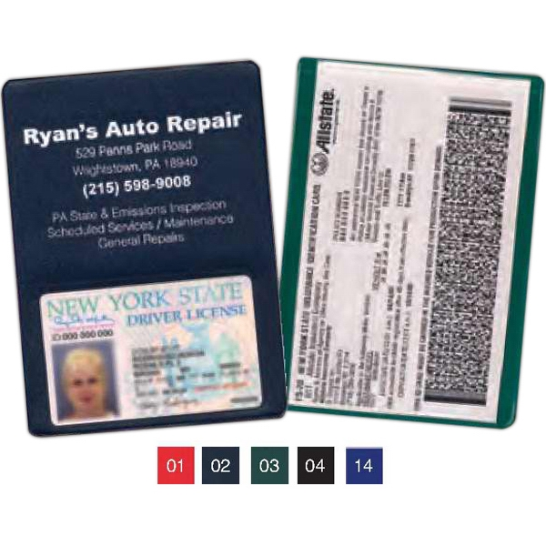 Standard Copy Guard Vinyl Insurance Card Holder With Extra Pocket Photo