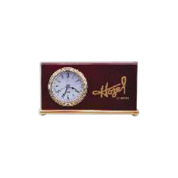 A Rosewood Piano Finish Desk Clock Photo