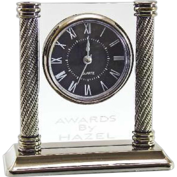 Clear Upright Column Desk Clock Photo
