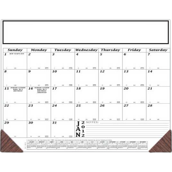 "Desk Pad, 12 Month Desk Calendar With Small Ruled Note Section, 21 3/4"" X 16 3/4"" Photo"