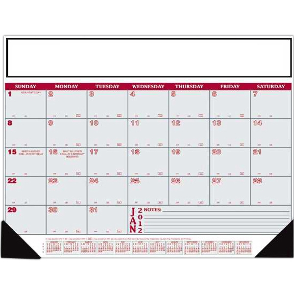 "Small Ruled Lines On Lower Right - 12 Month Desk Calendar, 21 3/4"" X 16 3/4"" Photo"