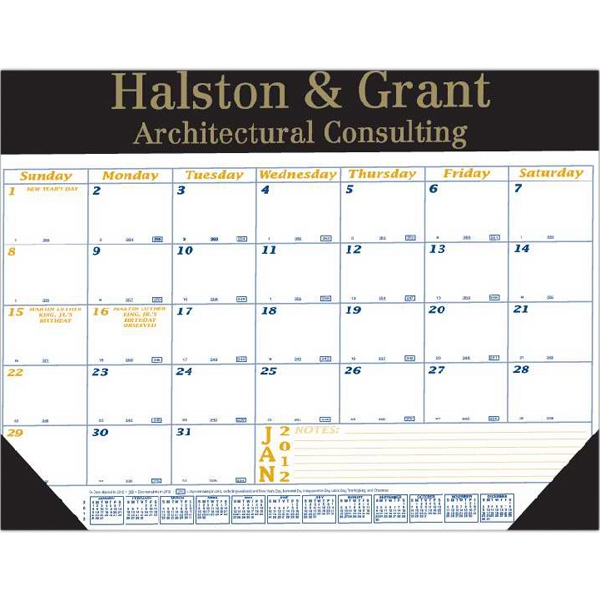 "Desk Pad Calendar With Vinyl Header And Two Corners, 22"" X 17"" Photo"